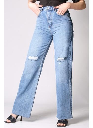 Madmext Mad Girls  Yırtıklı Straight Leg Jean Mg1024 Mavi